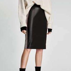 Zara Faux Leather Black Pencil Skirt